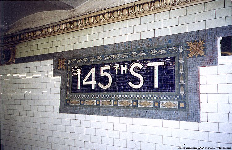 (112k, 751x485)<br><b>Country:</b> United States<br><b>City:</b> New York<br><b>System:</b> New York City Transit<br><b>Line:</b> IRT West Side Line<br><b>Location:</b> 145th Street <br><b>Photo by:</b> Wayne Whitehorne<br><b>Date:</b> 5/15/1999<br><b>Notes:</b> Mosaic tablet<br><b>Viewed (this week/total):</b> 0 / 2893