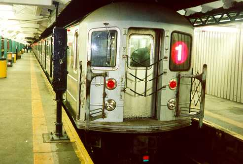 (23k, 493x333)<br><b>Country:</b> United States<br><b>City:</b> New York<br><b>System:</b> New York City Transit<br><b>Line:</b> IRT West Side Line<br><b>Location:</b> 242nd Street/Van Cortlandt Park <br><b>Route:</b> 1<br><b>Car:</b> R-62A (Bombardier, 1984-1987)   <br><b>Photo by:</b> Trevor Logan<br><b>Date:</b> 7/1999<br><b>Viewed (this week/total):</b> 1 / 6985