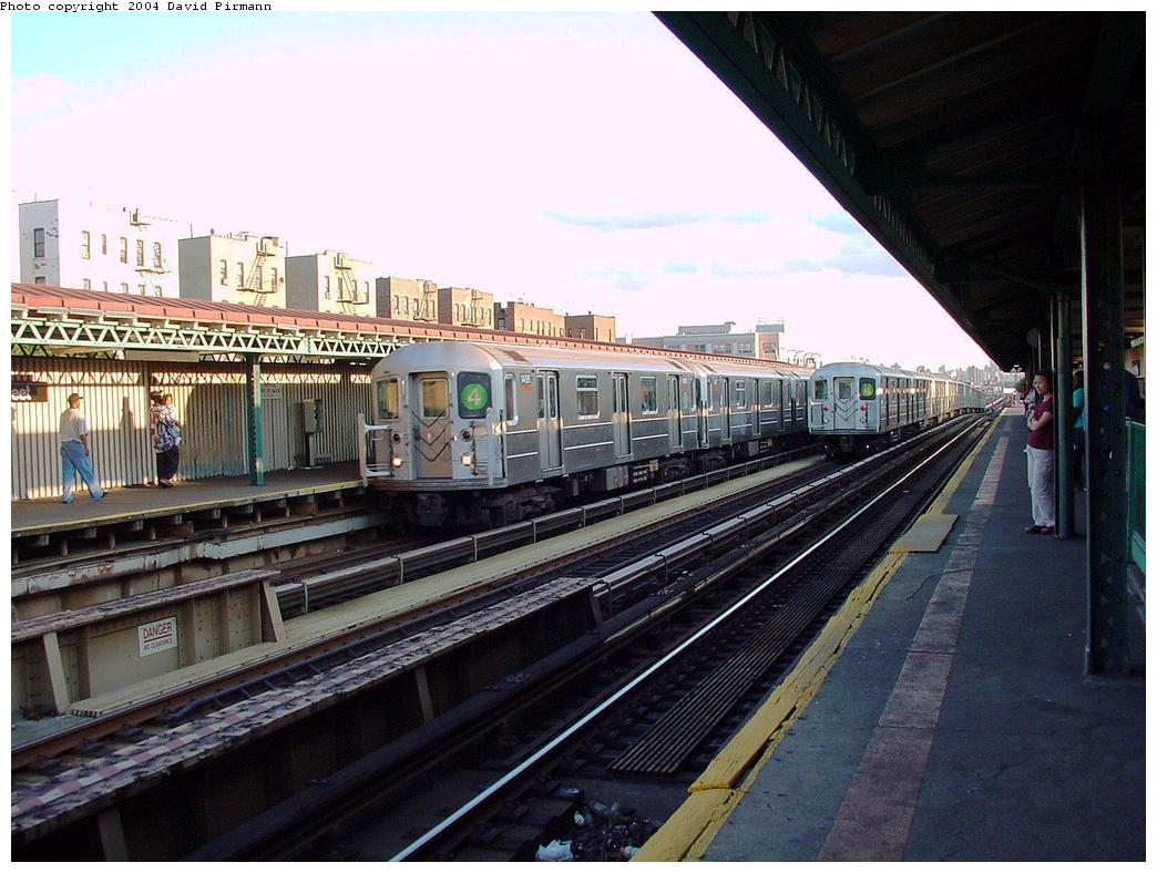 (139k, 1044x788)<br><b>Country:</b> United States<br><b>City:</b> New York<br><b>System:</b> New York City Transit<br><b>Line:</b> IRT Woodlawn Line<br><b>Location:</b> 167th Street <br><b>Route:</b> 4<br><b>Car:</b> R-62 (Kawasaki, 1983-1985)  1456 <br><b>Photo by:</b> David Pirmann<br><b>Date:</b> 7/12/2001<br><b>Viewed (this week/total):</b> 0 / 4449