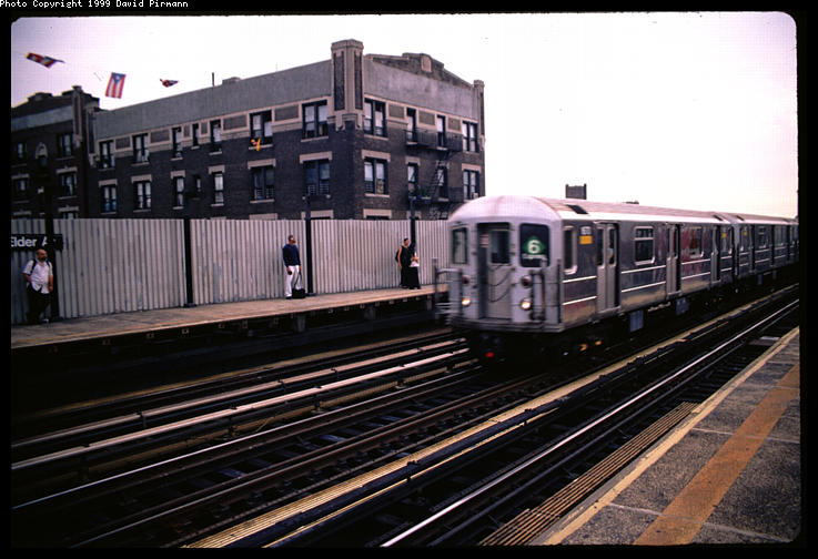 (76k, 737x504)<br><b>Country:</b> United States<br><b>City:</b> New York<br><b>System:</b> New York City Transit<br><b>Line:</b> IRT Pelham Line<br><b>Location:</b> Elder Avenue <br><b>Route:</b> 6<br><b>Car:</b> R-62A (Bombardier, 1984-1987)  1671 <br><b>Photo by:</b> David Pirmann<br><b>Date:</b> 7/21/1999<br><b>Viewed (this week/total):</b> 2 / 4959
