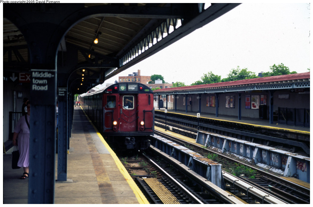 (179k, 1044x690)<br><b>Country:</b> United States<br><b>City:</b> New York<br><b>System:</b> New York City Transit<br><b>Line:</b> IRT Pelham Line<br><b>Location:</b> Middletown Road <br><b>Route:</b> 6<br><b>Car:</b> R-29 (St. Louis, 1962) 8599 <br><b>Photo by:</b> David Pirmann<br><b>Date:</b> 7/21/1999<br><b>Viewed (this week/total):</b> 1 / 3988