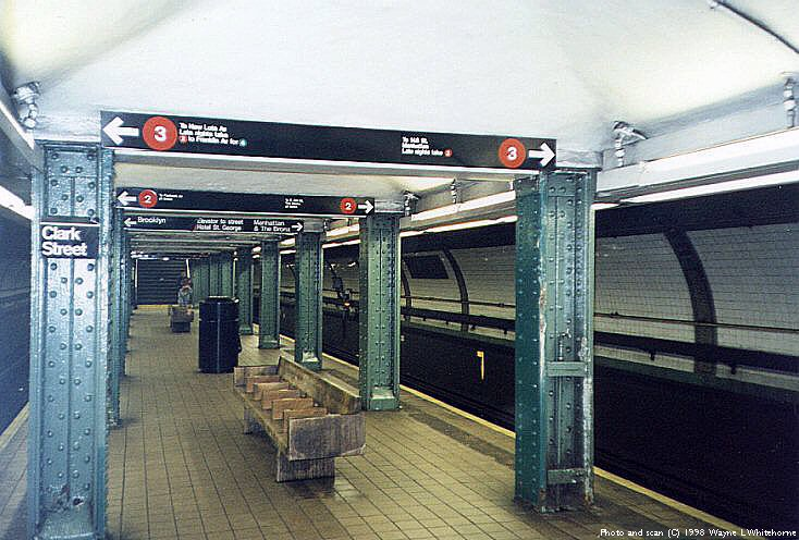 (92k, 734x496)<br><b>Country:</b> United States<br><b>City:</b> New York<br><b>System:</b> New York City Transit<br><b>Line:</b> IRT Brooklyn Line<br><b>Location:</b> Clark Street <br><b>Photo by:</b> Wayne Whitehorne<br><b>Date:</b> 3/21/1998<br><b>Viewed (this week/total):</b> 1 / 10917