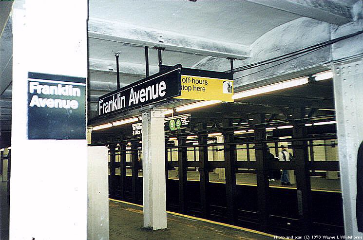 (89k, 745x493)<br><b>Country:</b> United States<br><b>City:</b> New York<br><b>System:</b> New York City Transit<br><b>Line:</b> IRT Brooklyn Line<br><b>Location:</b> Franklin Avenue <br><b>Photo by:</b> Wayne Whitehorne<br><b>Date:</b> 3/21/1998<br><b>Viewed (this week/total):</b> 2 / 5193