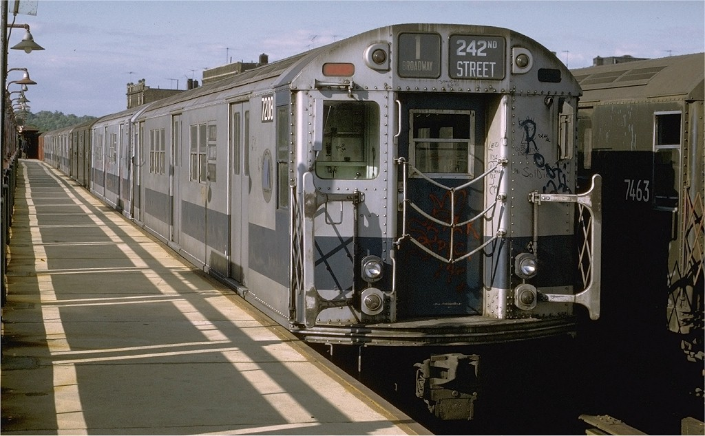 (185k, 1024x634)<br><b>Country:</b> United States<br><b>City:</b> New York<br><b>System:</b> New York City Transit<br><b>Line:</b> IRT West Side Line<br><b>Location:</b> 238th Street <br><b>Route:</b> 1<br><b>Car:</b> R-21 (St. Louis, 1956-57) 7208 <br><b>Photo by:</b> Joe Testagrose<br><b>Date:</b> 6/10/1972<br><b>Viewed (this week/total):</b> 2 / 2479