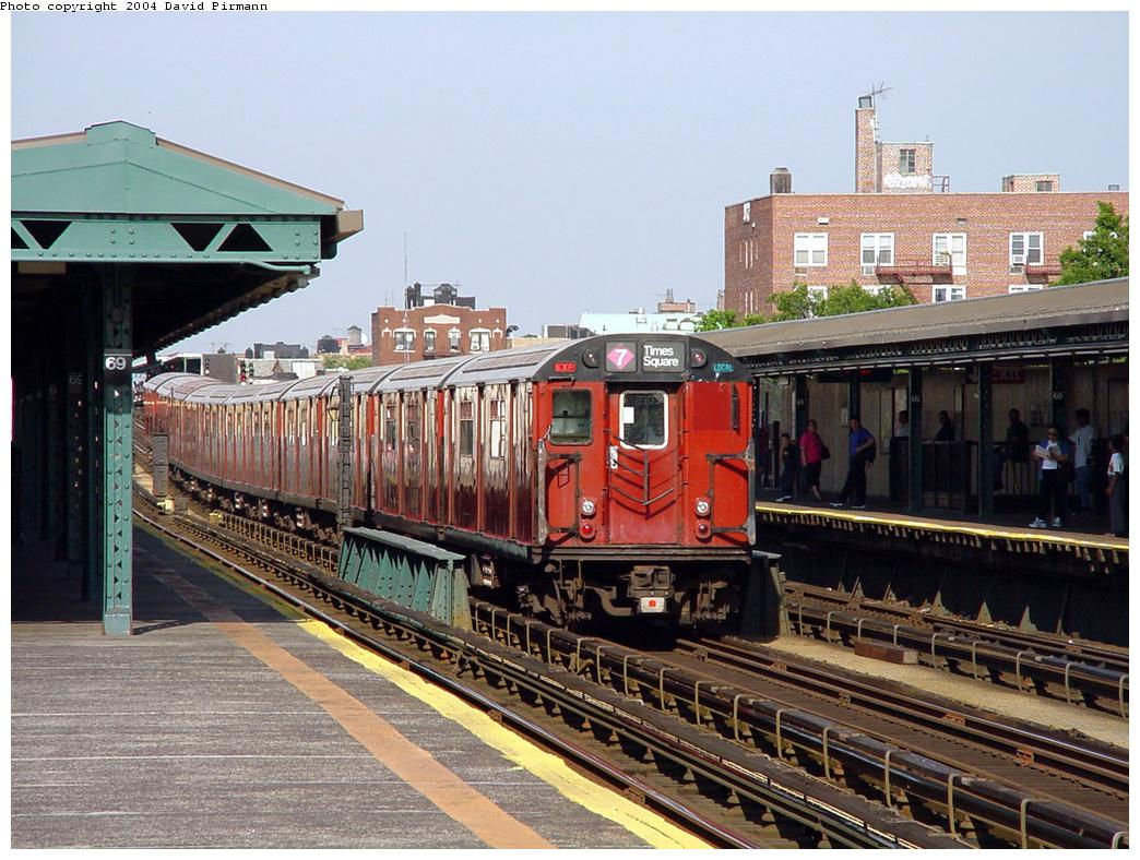 (155k, 1044x788)<br><b>Country:</b> United States<br><b>City:</b> New York<br><b>System:</b> New York City Transit<br><b>Line:</b> IRT Flushing Line<br><b>Location:</b> 69th Street/Fisk Avenue <br><b>Route:</b> 7<br><b>Car:</b> R-36 World's Fair (St. Louis, 1963-64)  <br><b>Photo by:</b> David Pirmann<br><b>Date:</b> 7/16/2001<br><b>Viewed (this week/total):</b> 9 / 4144