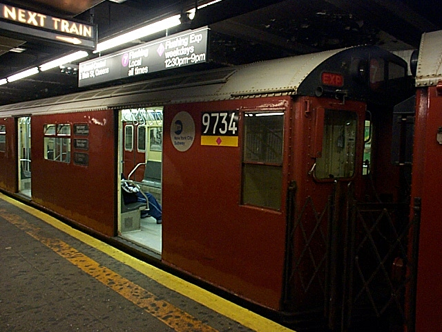 (127k, 640x480)<br><b>Country:</b> United States<br><b>City:</b> New York<br><b>System:</b> New York City Transit<br><b>Line:</b> IRT Flushing Line<br><b>Location:</b> Times Square <br><b>Route:</b> 7<br><b>Car:</b> R-36 World's Fair (St. Louis, 1963-64) 9734 <br><b>Photo by:</b> Richard Brome<br><b>Date:</b> 3/18/1999<br><b>Viewed (this week/total):</b> 1 / 4591