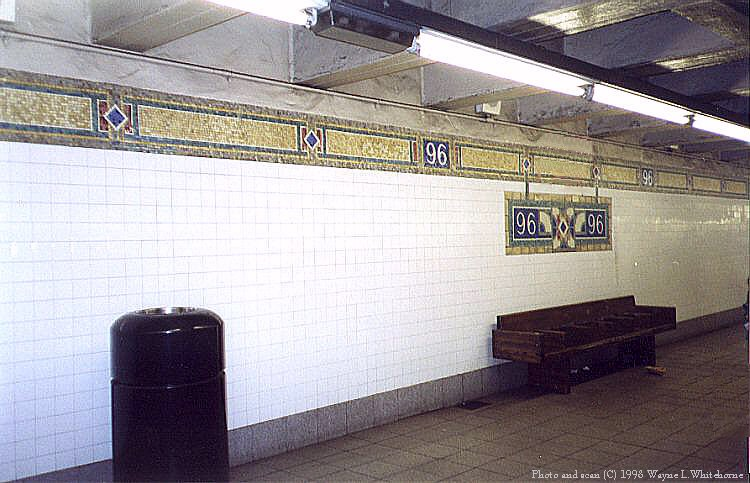 (83k, 750x483)<br><b>Country:</b> United States<br><b>City:</b> New York<br><b>System:</b> New York City Transit<br><b>Line:</b> IRT East Side Line<br><b>Location:</b> 96th Street <br><b>Photo by:</b> Wayne Whitehorne<br><b>Date:</b> 10/3/1998<br><b>Notes:</b> Restored tilework<br><b>Viewed (this week/total):</b> 7 / 3634