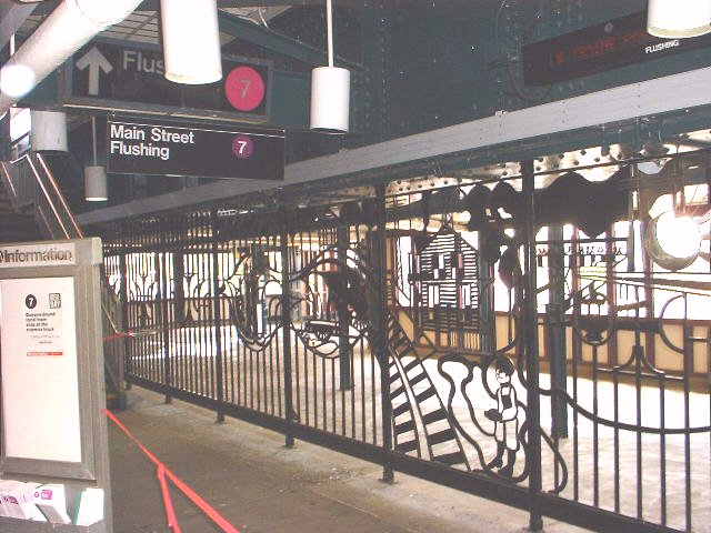 (84k, 640x480)<br><b>Country:</b> United States<br><b>City:</b> New York<br><b>System:</b> New York City Transit<br><b>Line:</b> IRT Flushing Line<br><b>Location:</b> 61st Street/Woodside <br><b>Photo by:</b> Peggy Darlington<br><b>Date:</b> 5/17/2000<br><b>Artwork:</b> <i>Woodside Continuum</i>, Dimitri Gerakaris (1999).<br><b>Viewed (this week/total):</b> 3 / 3740