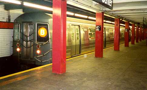 (20k, 485x297)<br><b>Country:</b> United States<br><b>City:</b> New York<br><b>System:</b> New York City Transit<br><b>Line:</b> IND 6th Avenue Line<br><b>Location:</b> 47-50th Street/Rockefeller Center <br><b>Route:</b> B<br><b>Car:</b> R-68A (Kawasaki, 1988-1989)  5056 <br><b>Photo by:</b> Trevor Logan<br><b>Date:</b> 7/1999<br><b>Viewed (this week/total):</b> 8 / 8472