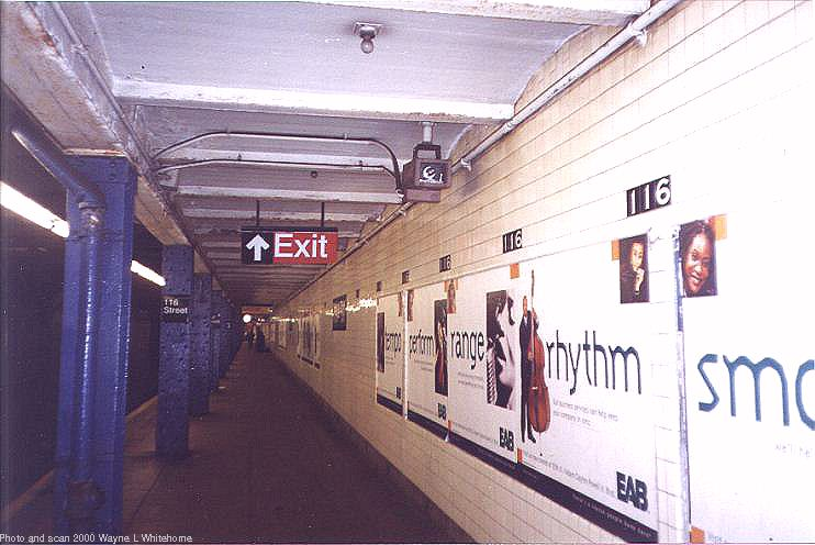 (65k, 742x496)<br><b>Country:</b> United States<br><b>City:</b> New York<br><b>System:</b> New York City Transit<br><b>Line:</b> IND 8th Avenue Line<br><b>Location:</b> 116th Street <br><b>Photo by:</b> Wayne Whitehorne<br><b>Date:</b> 4/15/2000<br><b>Viewed (this week/total):</b> 2 / 3114