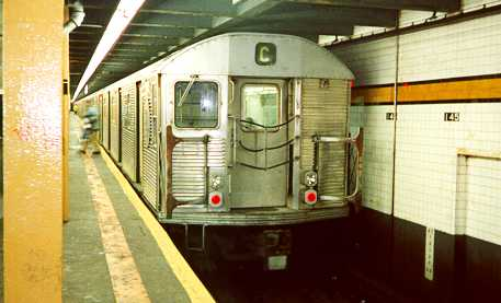 (18k, 457x277)<br><b>Country:</b> United States<br><b>City:</b> New York<br><b>System:</b> New York City Transit<br><b>Line:</b> IND 8th Avenue Line<br><b>Location:</b> 145th Street <br><b>Route:</b> C<br><b>Car:</b> R-32 (Budd, 1964)   <br><b>Photo by:</b> Trevor Logan<br><b>Date:</b> 7/1999<br><b>Viewed (this week/total):</b> 9 / 5760