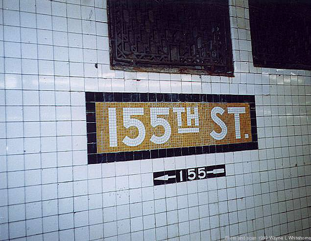 (66k, 635x491)<br><b>Country:</b> United States<br><b>City:</b> New York<br><b>System:</b> New York City Transit<br><b>Line:</b> IND 8th Avenue Line<br><b>Location:</b> 155th Street <br><b>Photo by:</b> Wayne Whitehorne<br><b>Date:</b> 9/24/1999<br><b>Viewed (this week/total):</b> 3 / 2707