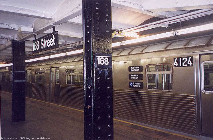 (79k, 747x489)<br><b>Country:</b> United States<br><b>City:</b> New York<br><b>System:</b> New York City Transit<br><b>Line:</b> IND 8th Avenue Line<br><b>Location:</b> 168th Street <br><b>Route:</b> C<br><b>Car:</b> R-38 (St. Louis, 1966-1967)  4124 <br><b>Photo by:</b> Wayne Whitehorne<br><b>Date:</b> 8/14/1999<br><b>Viewed (this week/total):</b> 3 / 6019