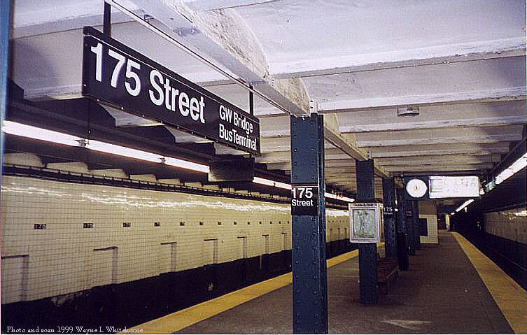 (78k, 753x479)<br><b>Country:</b> United States<br><b>City:</b> New York<br><b>System:</b> New York City Transit<br><b>Line:</b> IND 8th Avenue Line<br><b>Location:</b> 175th Street/George Washington Bridge Bus Terminal <br><b>Photo by:</b> Wayne Whitehorne<br><b>Date:</b> 1998<br><b>Viewed (this week/total):</b> 7 / 5861