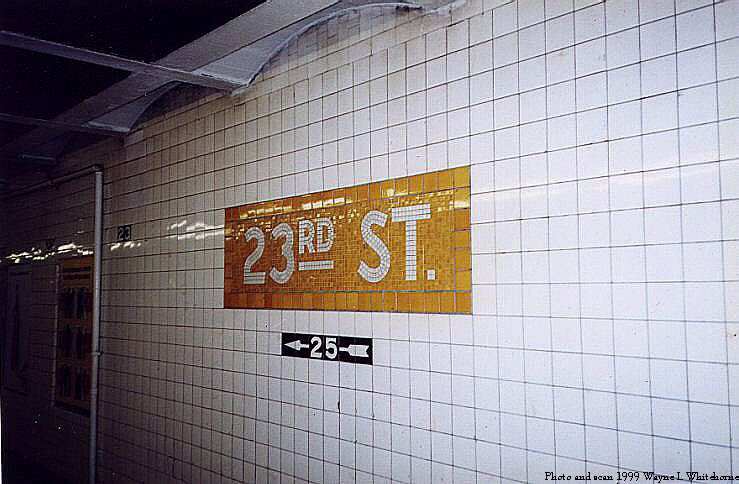 (71k, 739x484)<br><b>Country:</b> United States<br><b>City:</b> New York<br><b>System:</b> New York City Transit<br><b>Line:</b> IND 8th Avenue Line<br><b>Location:</b> 23rd Street <br><b>Photo by:</b> Wayne Whitehorne<br><b>Date:</b> 1/16/1999<br><b>Viewed (this week/total):</b> 2 / 2436