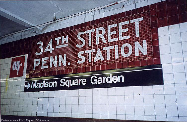 (91k, 751x493)<br><b>Country:</b> United States<br><b>City:</b> New York<br><b>System:</b> New York City Transit<br><b>Line:</b> IND 8th Avenue Line<br><b>Location:</b> 34th Street/Penn Station <br><b>Photo by:</b> Wayne Whitehorne<br><b>Date:</b> 8/14/1999<br><b>Notes:</b> Local platform<br><b>Viewed (this week/total):</b> 7 / 4313