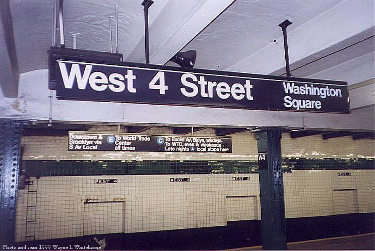 (80k, 744x499)<br><b>Country:</b> United States<br><b>City:</b> New York<br><b>System:</b> New York City Transit<br><b>Line:</b> IND 8th Avenue Line<br><b>Location:</b> West 4th Street/Washington Square <br><b>Photo by:</b> Wayne Whitehorne<br><b>Date:</b> 2/11/1999<br><b>Notes:</b> Upper level<br><b>Viewed (this week/total):</b> 1 / 3270