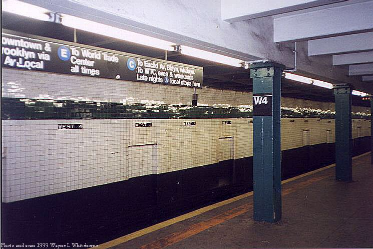 (75k, 745x497)<br><b>Country:</b> United States<br><b>City:</b> New York<br><b>System:</b> New York City Transit<br><b>Line:</b> IND 8th Avenue Line<br><b>Location:</b> West 4th Street/Washington Square <br><b>Photo by:</b> Wayne Whitehorne<br><b>Date:</b> 2/11/1999<br><b>Notes:</b> Upper level<br><b>Viewed (this week/total):</b> 1 / 3641