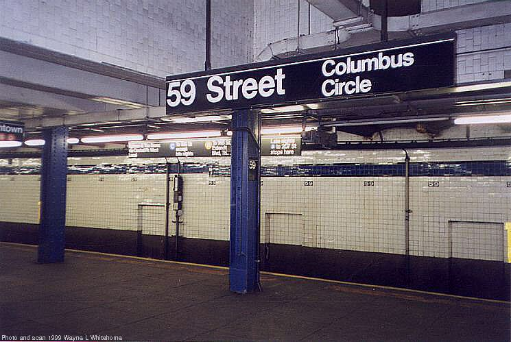 (80k, 745x499)<br><b>Country:</b> United States<br><b>City:</b> New York<br><b>System:</b> New York City Transit<br><b>Line:</b> IND 8th Avenue Line<br><b>Location:</b> 59th Street/Columbus Circle <br><b>Photo by:</b> Wayne Whitehorne<br><b>Date:</b> 2/11/1999<br><b>Viewed (this week/total):</b> 1 / 1971