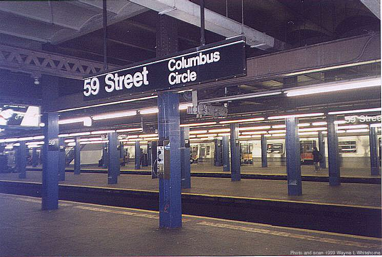 (80k, 745x502)<br><b>Country:</b> United States<br><b>City:</b> New York<br><b>System:</b> New York City Transit<br><b>Line:</b> IND 8th Avenue Line<br><b>Location:</b> 59th Street/Columbus Circle <br><b>Photo by:</b> Wayne Whitehorne<br><b>Date:</b> 2/11/1999<br><b>Viewed (this week/total):</b> 7 / 2771