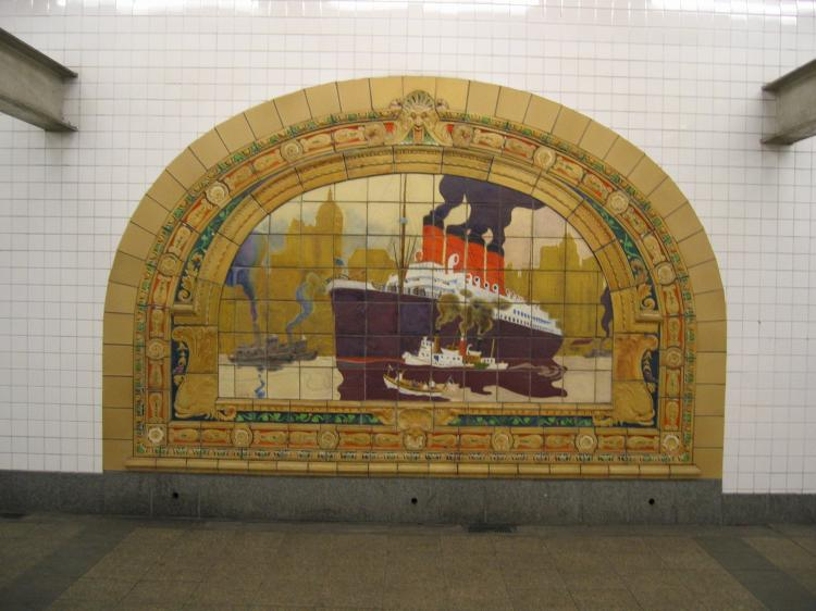 (64k, 750x562)<br><b>Country:</b> United States<br><b>City:</b> New York<br><b>System:</b> New York City Transit<br><b>Line:</b> IND 8th Avenue Line<br><b>Location:</b> Fulton Street (Broadway/Nassau) <br><b>Photo by:</b> Robbie Rosenfeld<br><b>Date:</b> 1/27/2005<br><b>Artwork:</b> <i>Marine Grill Murals, 1913</i>, Fred Dana Marsh (2000).<br><b>Viewed (this week/total):</b> 2 / 2995