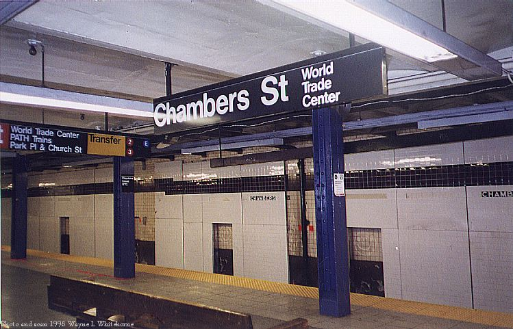(95k, 749x481)<br><b>Country:</b> United States<br><b>City:</b> New York<br><b>System:</b> New York City Transit<br><b>Line:</b> IND 8th Avenue Line<br><b>Location:</b> Chambers Street/World Trade Center <br><b>Photo by:</b> Wayne Whitehorne<br><b>Date:</b> 11/15/1998<br><b>Notes:</b> New wall tile partially installed-A/C platform<br><b>Viewed (this week/total):</b> 0 / 3115
