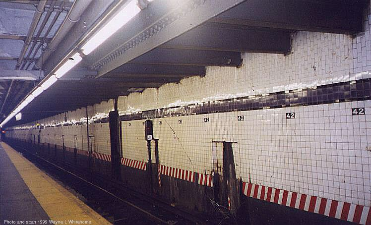(69k, 748x454)<br><b>Country:</b> United States<br><b>City:</b> New York<br><b>System:</b> New York City Transit<br><b>Line:</b> IND 8th Avenue Line<br><b>Location:</b> 42nd Street/Port Authority Bus Terminal <br><b>Photo by:</b> Wayne Whitehorne<br><b>Date:</b> 8/14/1999<br><b>Notes:</b> Local platform<br><b>Viewed (this week/total):</b> 3 / 4595