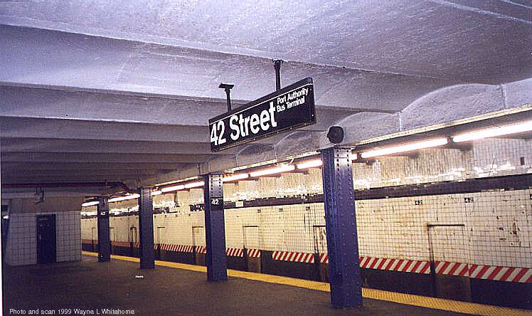 (76k, 748x444)<br><b>Country:</b> United States<br><b>City:</b> New York<br><b>System:</b> New York City Transit<br><b>Line:</b> IND 8th Avenue Line<br><b>Location:</b> 42nd Street/Port Authority Bus Terminal <br><b>Photo by:</b> Wayne Whitehorne<br><b>Date:</b> 8/14/1999<br><b>Viewed (this week/total):</b> 0 / 4640