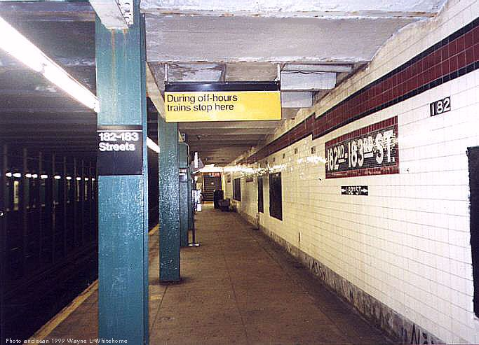 (70k, 683x493)<br><b>Country:</b> United States<br><b>City:</b> New York<br><b>System:</b> New York City Transit<br><b>Line:</b> IND Concourse Line<br><b>Location:</b> 182nd/183rd Street <br><b>Photo by:</b> Wayne Whitehorne<br><b>Date:</b> 9/24/1999<br><b>Viewed (this week/total):</b> 0 / 3712