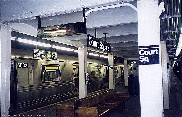(99k, 750x483)<br><b>Country:</b> United States<br><b>City:</b> New York<br><b>System:</b> New York City Transit<br><b>Line:</b> IND Crosstown Line<br><b>Location:</b> Court Square <br><b>Route:</b> G<br><b>Car:</b> R-46 (Pullman-Standard, 1974-75) 5503 <br><b>Photo by:</b> Wayne Whitehorne<br><b>Date:</b> 4/18/1998<br><b>Viewed (this week/total):</b> 0 / 7613