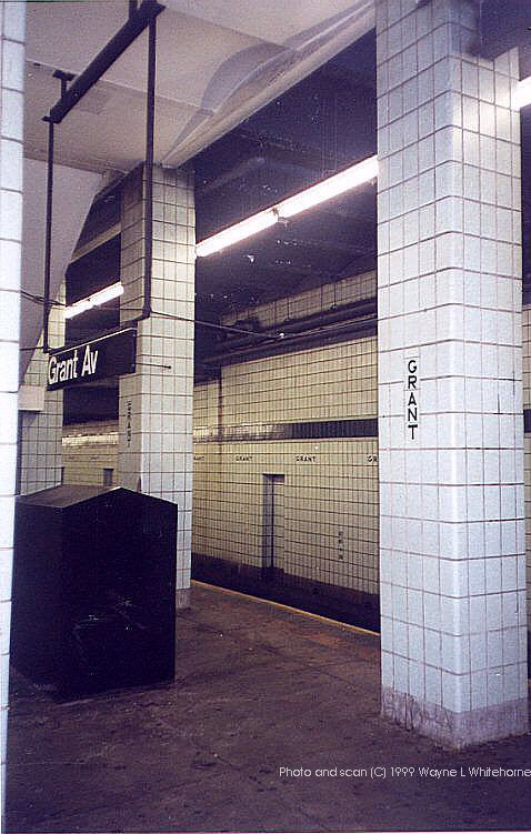 (87k, 478x751)<br><b>Country:</b> United States<br><b>City:</b> New York<br><b>System:</b> New York City Transit<br><b>Line:</b> IND Fulton Street Line<br><b>Location:</b> Grant Avenue <br><b>Route:</b> A<br><b>Photo by:</b> Wayne Whitehorne<br><b>Date:</b> 1/28/1999<br><b>Notes:</b> View of west end of station<br><b>Viewed (this week/total):</b> 3 / 4112