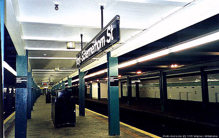 (93k, 743x470)<br><b>Country:</b> United States<br><b>City:</b> New York<br><b>System:</b> New York City Transit<br><b>Line:</b> IND Fulton Street Line<br><b>Location:</b> Hoyt-Schermerhorn Street <br><b>Photo by:</b> Wayne Whitehorne<br><b>Date:</b> 4/28/1998<br><b>Viewed (this week/total):</b> 3 / 4702