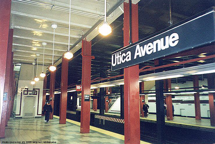 (109k, 739x497)<br><b>Country:</b> United States<br><b>City:</b> New York<br><b>System:</b> New York City Transit<br><b>Line:</b> IND Fulton Street Line<br><b>Location:</b> Utica Avenue <br><b>Photo by:</b> Wayne Whitehorne<br><b>Date:</b> 4/28/1998<br><b>Notes:</b> Overall view<br><b>Viewed (this week/total):</b> 3 / 3307