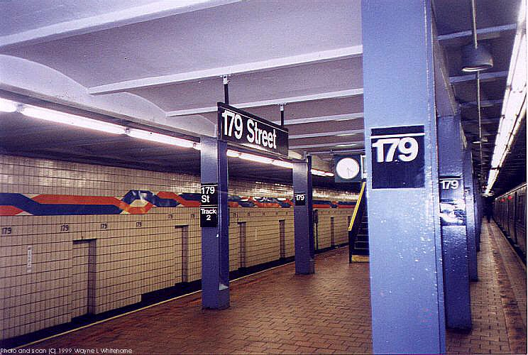 (101k, 744x500)<br><b>Country:</b> United States<br><b>City:</b> New York<br><b>System:</b> New York City Transit<br><b>Line:</b> IND Queens Boulevard Line<br><b>Location:</b> 179th Street <br><b>Photo by:</b> Wayne Whitehorne<br><b>Date:</b> 1/9/1999<br><b>Viewed (this week/total):</b> 2 / 3775