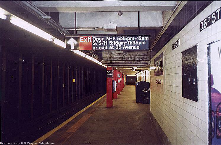 (71k, 747x492)<br><b>Country:</b> United States<br><b>City:</b> New York<br><b>System:</b> New York City Transit<br><b>Line:</b> IND Queens Boulevard Line<br><b>Location:</b> 36th Street <br><b>Photo by:</b> Wayne Whitehorne<br><b>Date:</b> 12/11/1999<br><b>Viewed (this week/total):</b> 1 / 4310