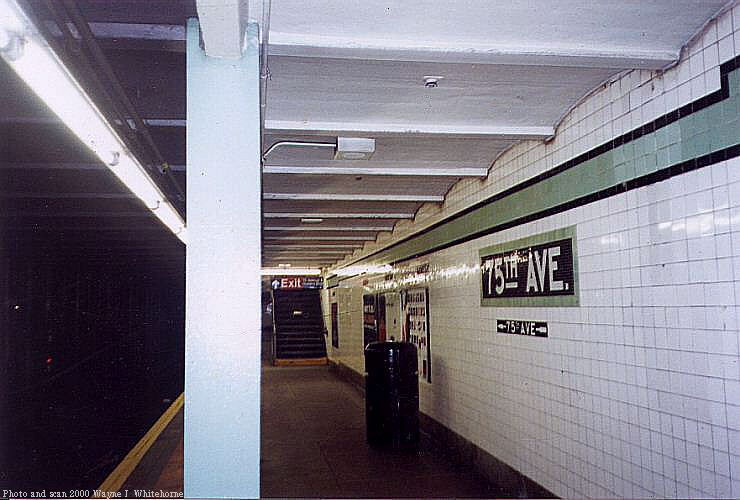 (66k, 740x500)<br><b>Country:</b> United States<br><b>City:</b> New York<br><b>System:</b> New York City Transit<br><b>Line:</b> IND Queens Boulevard Line<br><b>Location:</b> 75th Avenue <br><b>Photo by:</b> Wayne Whitehorne<br><b>Date:</b> 1/8/2000<br><b>Viewed (this week/total):</b> 2 / 2699
