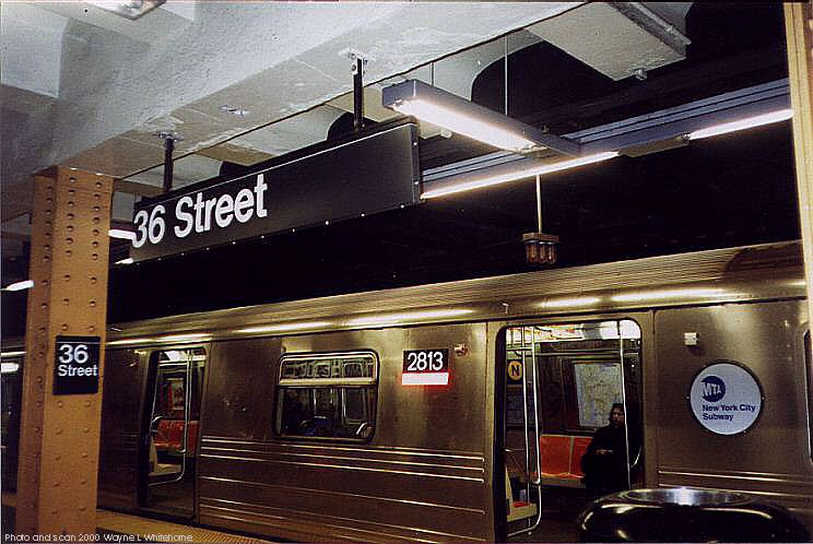(77k, 744x498)<br><b>Country:</b> United States<br><b>City:</b> New York<br><b>System:</b> New York City Transit<br><b>Line:</b> BMT 4th Avenue<br><b>Location:</b> 36th Street <br><b>Route:</b> N<br><b>Car:</b> R-68 (Westinghouse-Amrail, 1986-1988)  2813 <br><b>Photo by:</b> Wayne Whitehorne<br><b>Date:</b> 1/15/2000<br><b>Viewed (this week/total):</b> 1 / 6300