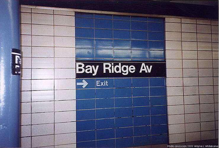 (68k, 740x500)<br><b>Country:</b> United States<br><b>City:</b> New York<br><b>System:</b> New York City Transit<br><b>Line:</b> BMT 4th Avenue<br><b>Location:</b> Bay Ridge Avenue <br><b>Photo by:</b> Wayne Whitehorne<br><b>Date:</b> 6/4/1999<br><b>Notes:</b> 1960s refrigerator tile<br><b>Viewed (this week/total):</b> 0 / 3115