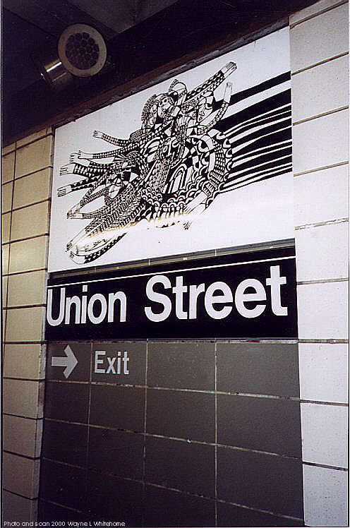 (85k, 496x748)<br><b>Country:</b> United States<br><b>City:</b> New York<br><b>System:</b> New York City Transit<br><b>Line:</b> BMT 4th Avenue<br><b>Location:</b> Union Street <br><b>Photo by:</b> Wayne Whitehorne<br><b>Date:</b> 1/15/2000<br><b>Artwork:</b> <i>CommUnion</i>, Emmett Wigglesworth (1994).<br><b>Notes:</b> Art installation, platform level.<br><b>Viewed (this week/total):</b> 0 / 2932