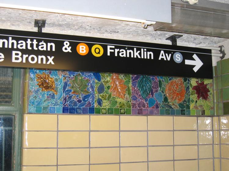 (77k, 750x562)<br><b>Country:</b> United States<br><b>City:</b> New York<br><b>System:</b> New York City Transit<br><b>Line:</b> BMT Brighton Line<br><b>Location:</b> Prospect Park <br><b>Photo by:</b> Robbie Rosenfeld<br><b>Date:</b> 3/16/2005<br><b>Artwork:</b> <i>Brighton Clay Re-Leaf</i>, Susan Tunick (1994).<br><b>Notes:</b> Art installation, south mezzanine.<br><b>Viewed (this week/total):</b> 2 / 3043