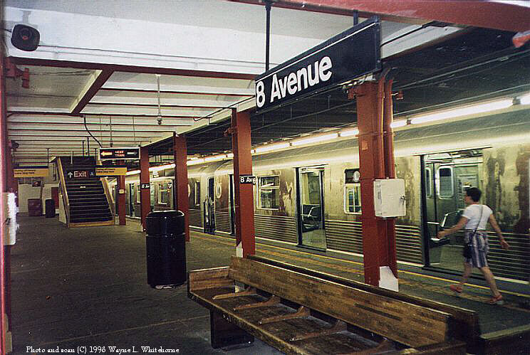 (111k, 744x499)<br><b>Country:</b> United States<br><b>City:</b> New York<br><b>System:</b> New York City Transit<br><b>Line:</b> BMT Canarsie Line<br><b>Location:</b> 8th Avenue <br><b>Route:</b> L<br><b>Car:</b> R-42 (St. Louis, 1969-1970)   <br><b>Photo by:</b> Wayne Whitehorne<br><b>Date:</b> 5/30/1998<br><b>Viewed (this week/total):</b> 11 / 5848