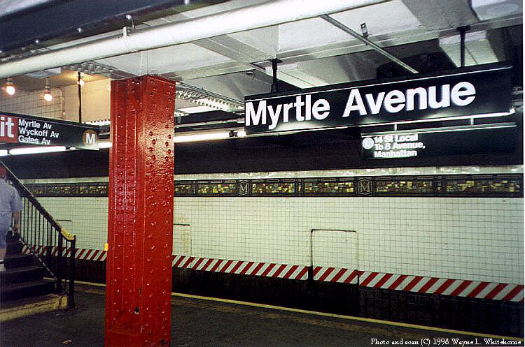 (106k, 750x497)<br><b>Country:</b> United States<br><b>City:</b> New York<br><b>System:</b> New York City Transit<br><b>Line:</b> BMT Canarsie Line<br><b>Location:</b> Myrtle Avenue <br><b>Route:</b> L<br><b>Photo by:</b> Wayne Whitehorne<br><b>Date:</b> 8/1/1998<br><b>Viewed (this week/total):</b> 2 / 3441