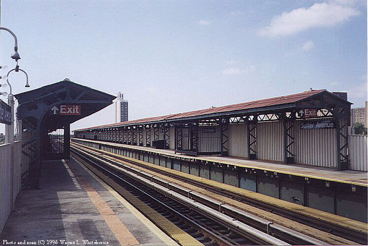 (90k, 747x500)<br><b>Country:</b> United States<br><b>City:</b> New York<br><b>System:</b> New York City Transit<br><b>Line:</b> BMT Canarsie Line<br><b>Location:</b> Sutter Avenue <br><b>Route:</b> L<br><b>Photo by:</b> Wayne Whitehorne<br><b>Date:</b> 6/28/1998<br><b>Viewed (this week/total):</b> 2 / 2431