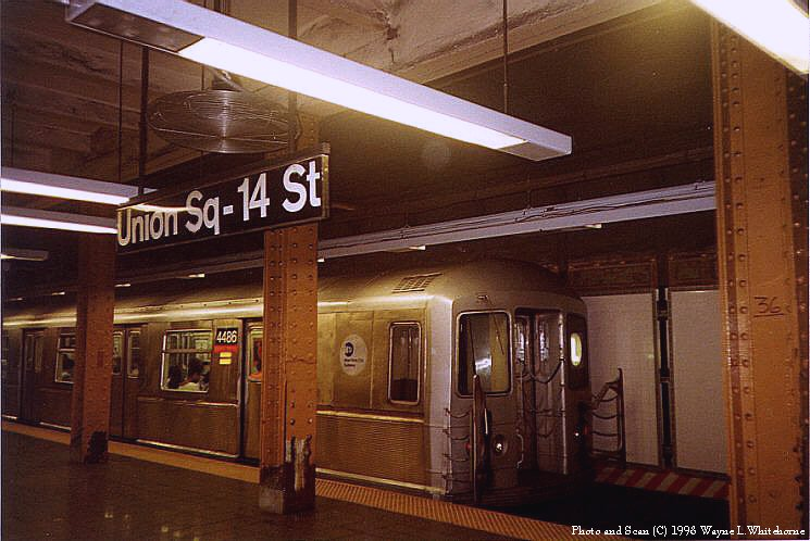 (81k, 745x498)<br><b>Country:</b> United States<br><b>City:</b> New York<br><b>System:</b> New York City Transit<br><b>Line:</b> BMT Canarsie Line<br><b>Location:</b> Union Square <br><b>Route:</b> L<br><b>Car:</b> R-40M (St. Louis, 1969)  4466 <br><b>Photo by:</b> Wayne Whitehorne<br><b>Date:</b> 8/21/1998<br><b>Viewed (this week/total):</b> 0 / 6219