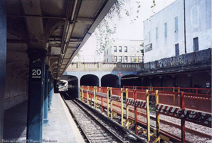 (101k, 744x501)<br><b>Country:</b> United States<br><b>City:</b> New York<br><b>System:</b> New York City Transit<br><b>Line:</b> BMT Sea Beach Line<br><b>Location:</b> 20th Avenue <br><b>Photo by:</b> Wayne Whitehorne<br><b>Date:</b> 6/4/1999<br><b>Notes:</b> 20th Ave. (Sea Beach)<br><b>Viewed (this week/total):</b> 3 / 2168