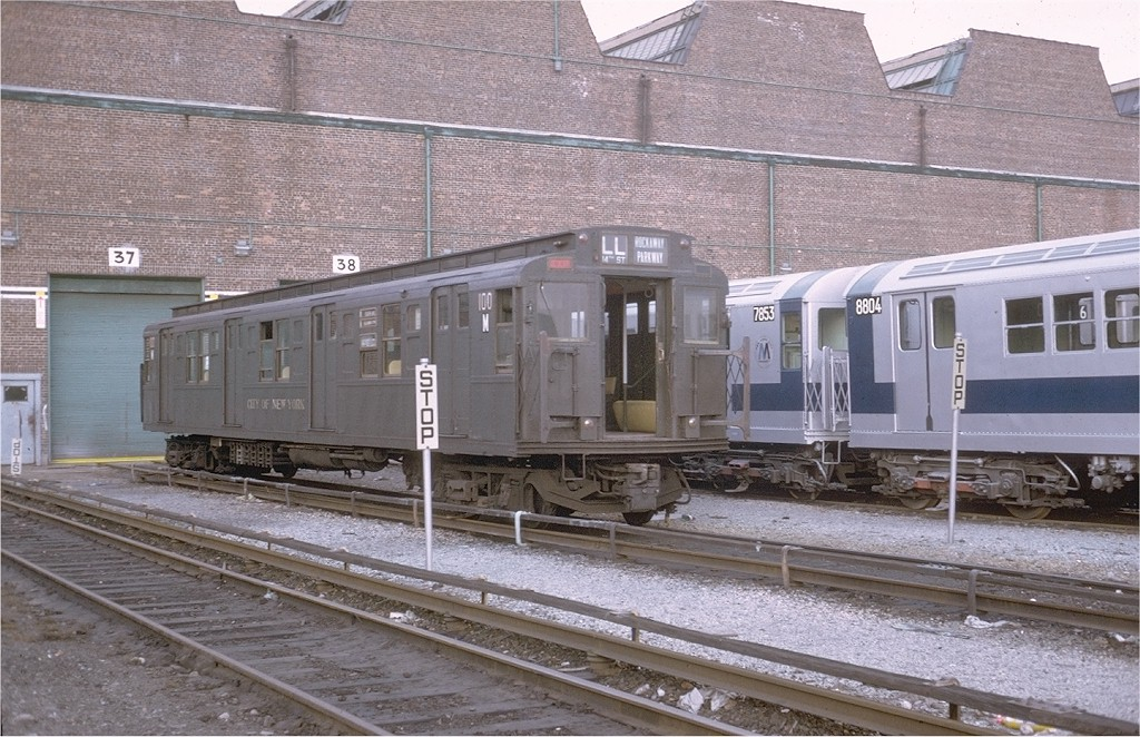 (230k, 1024x662)<br><b>Country:</b> United States<br><b>City:</b> New York<br><b>System:</b> New York City Transit<br><b>Location:</b> Coney Island Yard-Museum Yard<br><b>Car:</b> R-1 (American Car & Foundry, 1930-1931) 100 <br><b>Photo by:</b> Steve Zabel<br><b>Collection of:</b> Joe Testagrose<br><b>Date:</b> 2/4/1973<br><b>Viewed (this week/total):</b> 3 / 3443