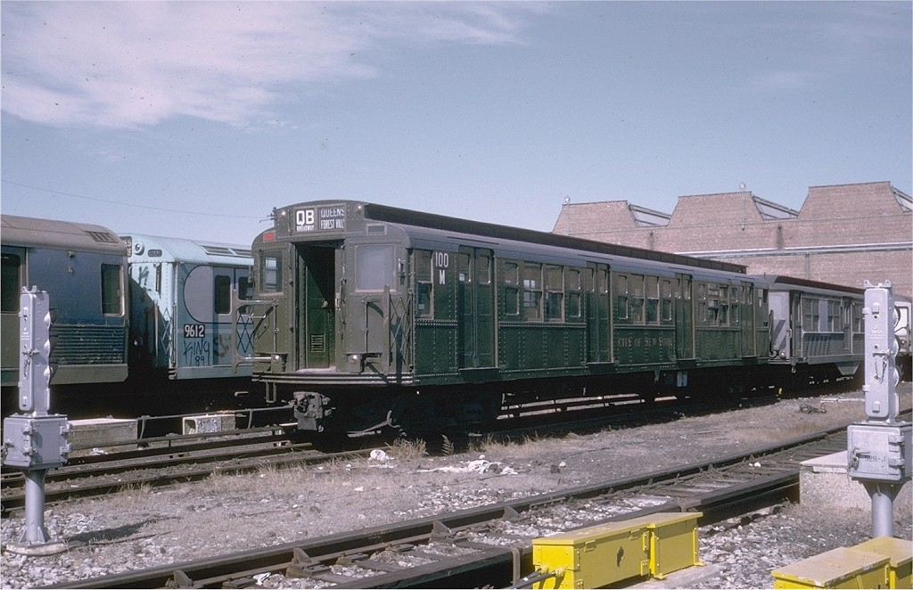 (199k, 1024x662)<br><b>Country:</b> United States<br><b>City:</b> New York<br><b>System:</b> New York City Transit<br><b>Location:</b> Coney Island Yard-Museum Yard<br><b>Car:</b> R-1 (American Car & Foundry, 1930-1931) 100 <br><b>Photo by:</b> Steve Zabel<br><b>Collection of:</b> Joe Testagrose<br><b>Date:</b> 3/18/1974<br><b>Viewed (this week/total):</b> 0 / 4168