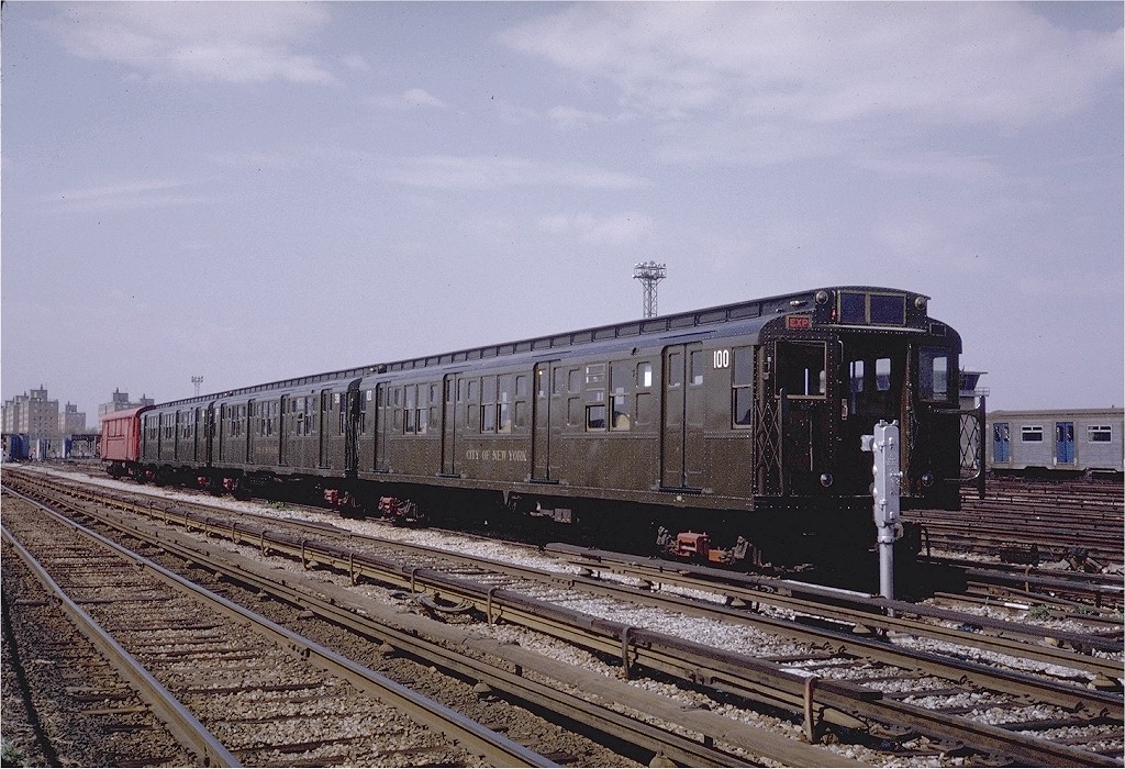 (249k, 1024x700)<br><b>Country:</b> United States<br><b>City:</b> New York<br><b>System:</b> New York City Transit<br><b>Location:</b> Coney Island Yard-Museum Yard<br><b>Car:</b> R-1 (American Car & Foundry, 1930-1931) 100 <br><b>Photo by:</b> Steve Zabel<br><b>Collection of:</b> Joe Testagrose<br><b>Date:</b> 5/11/1971<br><b>Viewed (this week/total):</b> 1 / 3033