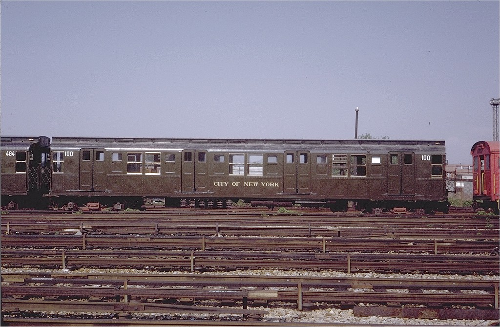 (238k, 1024x669)<br><b>Country:</b> United States<br><b>City:</b> New York<br><b>System:</b> New York City Transit<br><b>Location:</b> Coney Island Yard-Museum Yard<br><b>Car:</b> R-1 (American Car & Foundry, 1930-1931) 100 <br><b>Photo by:</b> Steve Zabel<br><b>Collection of:</b> Joe Testagrose<br><b>Date:</b> 5/25/1971<br><b>Viewed (this week/total):</b> 2 / 3070