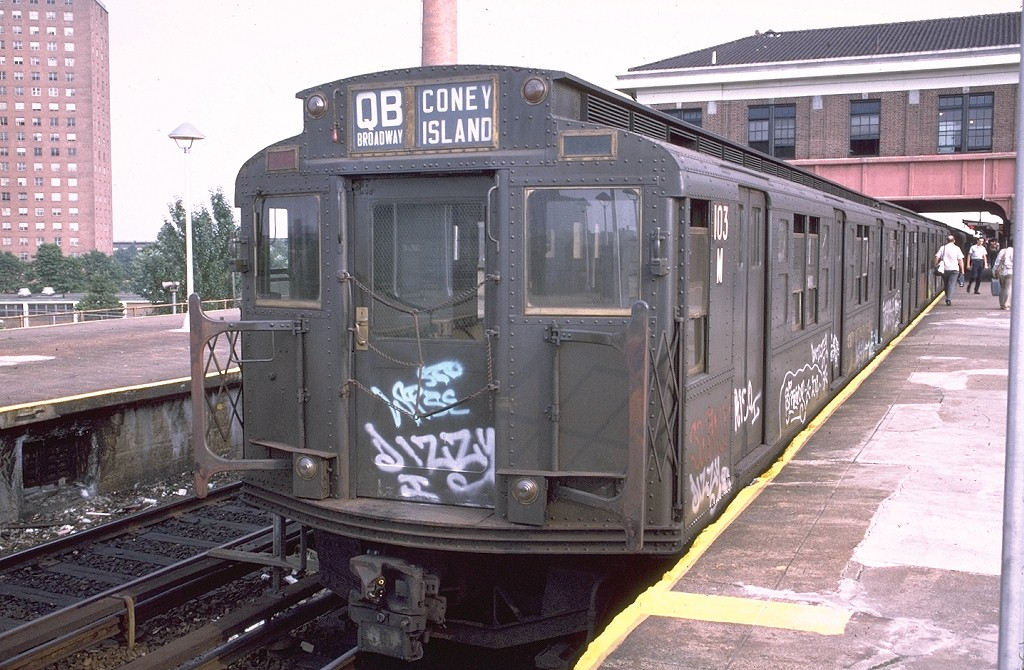 (228k, 1024x670)<br><b>Country:</b> United States<br><b>City:</b> New York<br><b>System:</b> New York City Transit<br><b>Location:</b> Coney Island/Stillwell Avenue<br><b>Route:</b> QB<br><b>Car:</b> R-1 (American Car & Foundry, 1930-1931) 103 <br><b>Photo by:</b> Doug Grotjahn<br><b>Collection of:</b> Joe Testagrose<br><b>Date:</b> 7/27/1973<br><b>Viewed (this week/total):</b> 0 / 3903